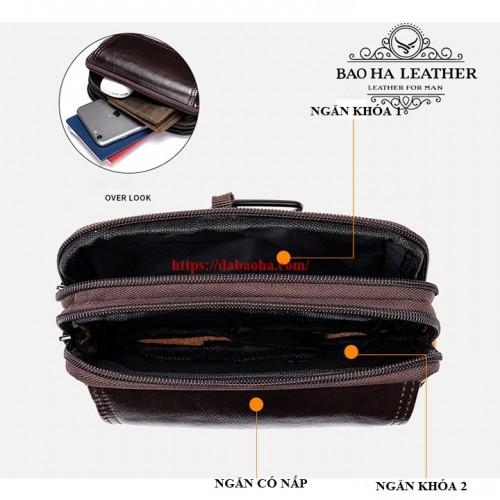 Túi có 2 ngăn khóa chính, 1 ngăn có nắp đẻ điện thoại