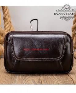 Túi đeo thắt lưng da bò thật BHM7539C Màu Cà phê
