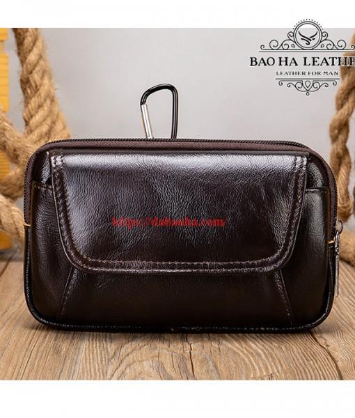 Túi đeo thắt lưng da bò thật BHM7539C Màu Cà phê (16)