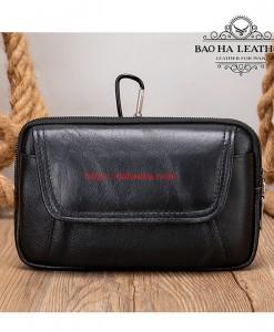 Túi đeo thắt lưng da bò thật BHM7539 Màu Đen