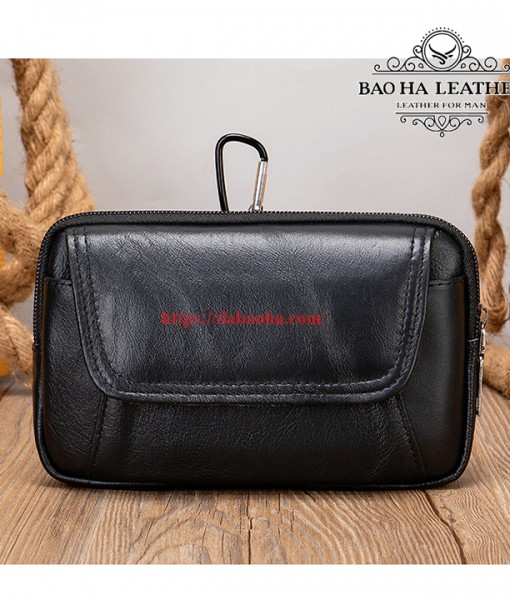 Túi đeo thắt lưng da bò thật BHM7539C Màu Cà phê (7)
