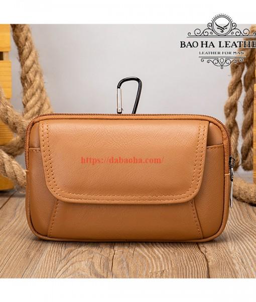Túi đeo thắt lưng da bò thật BHM7539C Màu Cà phê (8)