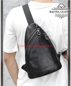 Túi nam đeo ngực da bò thật cao cấp BHM8036 Đeo sau lưng cũng rất oke