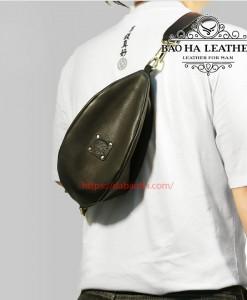 Túi da đeo ngực mẫu mới BHL032 Màu Đen