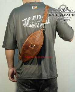Túi da đeo ngực mẫu mới BHL032 màu Nâu