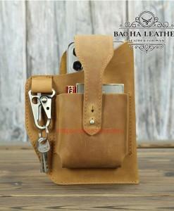 Túi đeo thắt lưng BHLYB011 Nâu vàng Da bò nguyên tấm
